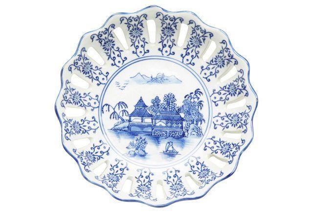 """14"""" Christine Bowl, Blue/White"""