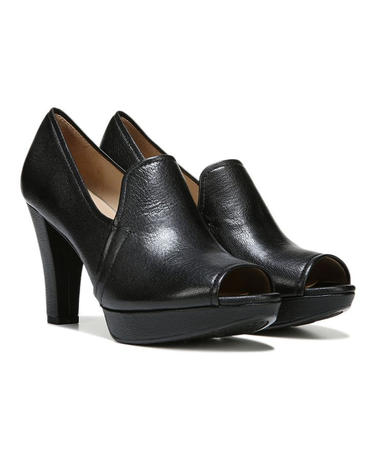 Black Kaneli Leather Peep-Toe Pump