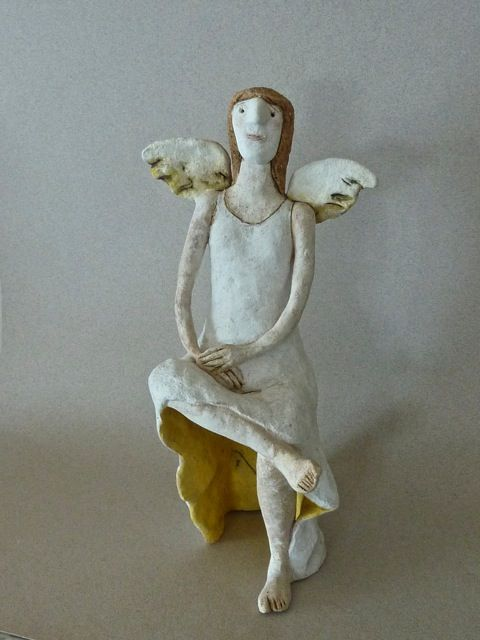 Seated Angel by Sally Curry - sculptor - Tasmanian artist