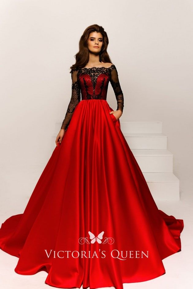 Off Shoulder Long Sleeve Black Lace Top Red Ball Gown Red Ball Gowns Masquerade Ball Gowns Elegant Red Dress