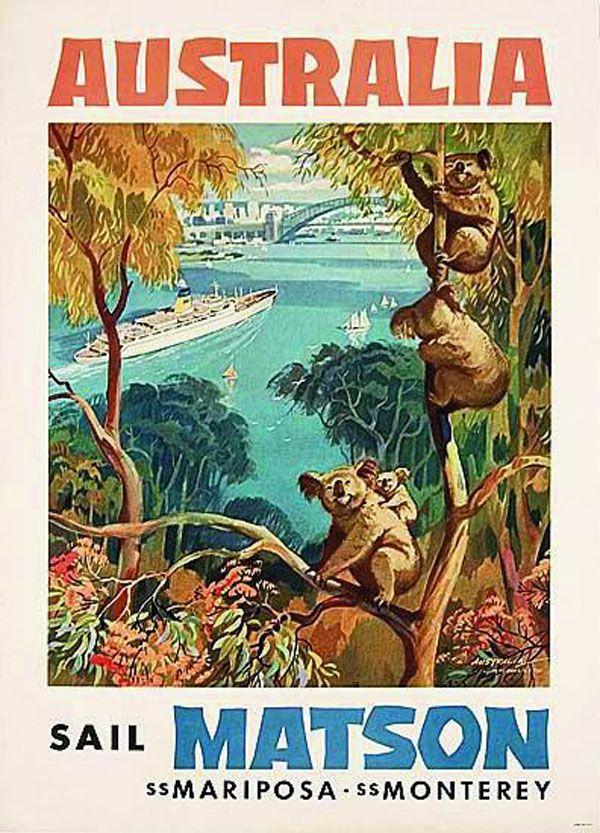Australia vintage poster with koalas • Australia souvenir craft
