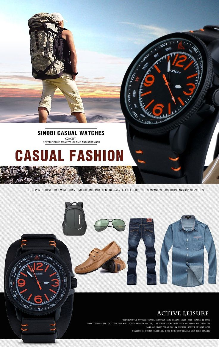 2016 Famous Brand SINOBI new relogio masculino Casual Fashion Military Men Quartz Watch young Sport Climbing Athletic black Rubber runner orange time