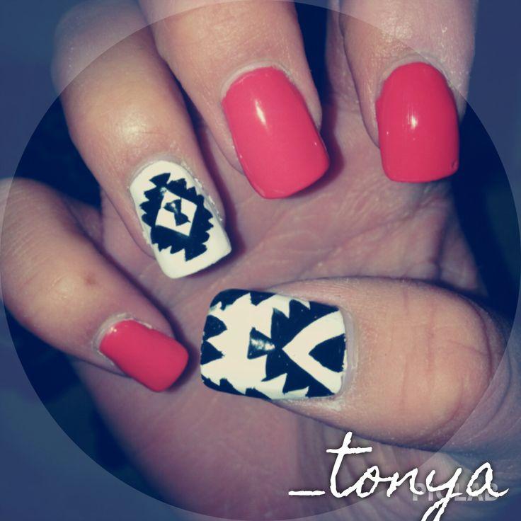 aztec tribal nail design