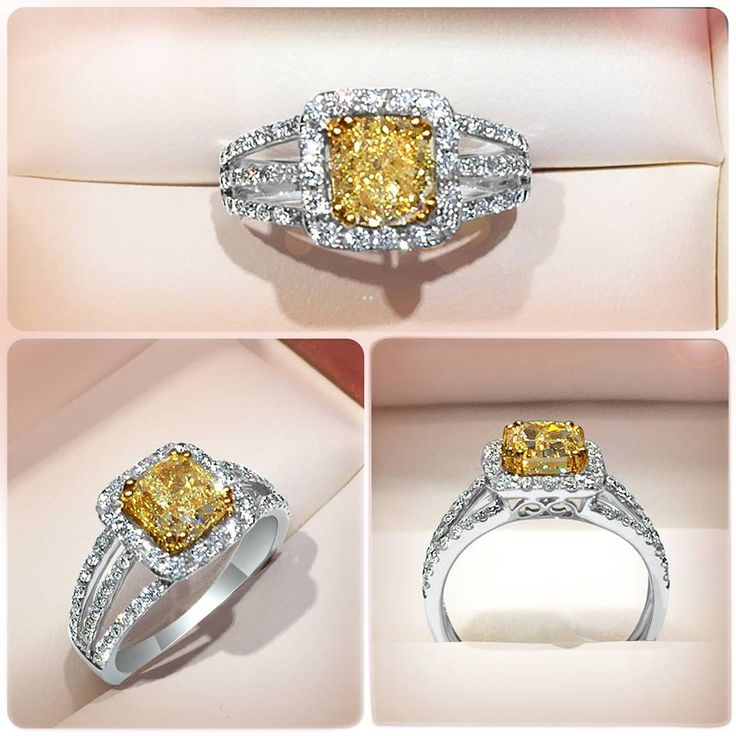 Fancy Yellow Cushion Cut diamond halo ring. This perfectly proportioned and eye catching ring uses every design feature to enhance the vibrancy and scintillation of the central Cushion Cut diamond. The centre halo is adorned with pavé set diamonds with room to allow the light to make its way into the centre stone, emphasizing its fire and brilliance. A tri-band set with round diamonds guides the eye towards the halo, creating a spectacular all diamond look, which is both feminine and…