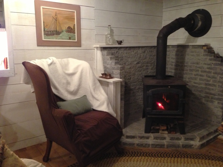 Fireplace in the guest house.