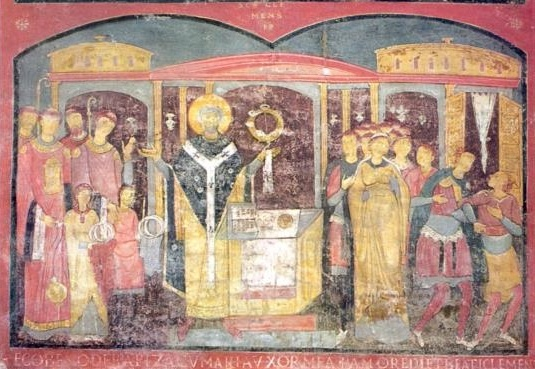 Fresco of St. Clement saying Mass.