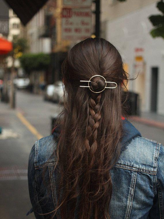 Hammered circle hair accessory brass hair clip minimalist