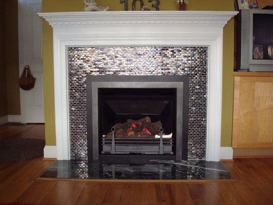 Glass Tile For Fireplace Glass Tile Fireplace Surrounds