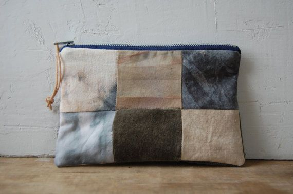 FOLK hand-dyed patchwork zip pouch no. 1 by enhabiten on Etsy