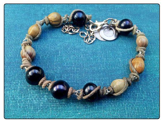 Black Pearl Seed & Hemp Bracelet by washdupwondrs on Etsy