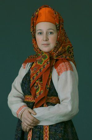 A young woman in a festive costume. Mezensky county, Arkhangelsk Province.,  beginning of XX century