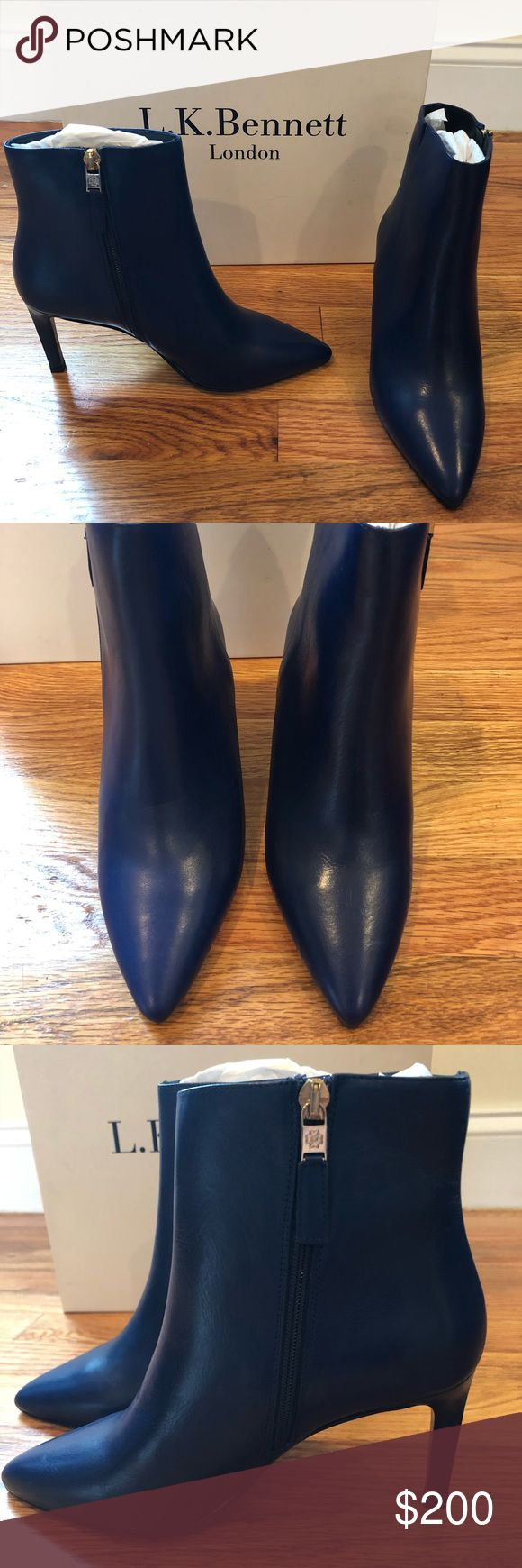 BNIB L.K. Bennett dark blue leather Rods booties! Amazing!! Dark blue leather Rosa booties from LK Bennett. Beautiful leather 😍 Sz 35 best correlates with a US 5. Never worn and comes with box. Perfect holiday present! LK Bennett Shoes Ankle Boots & Booties