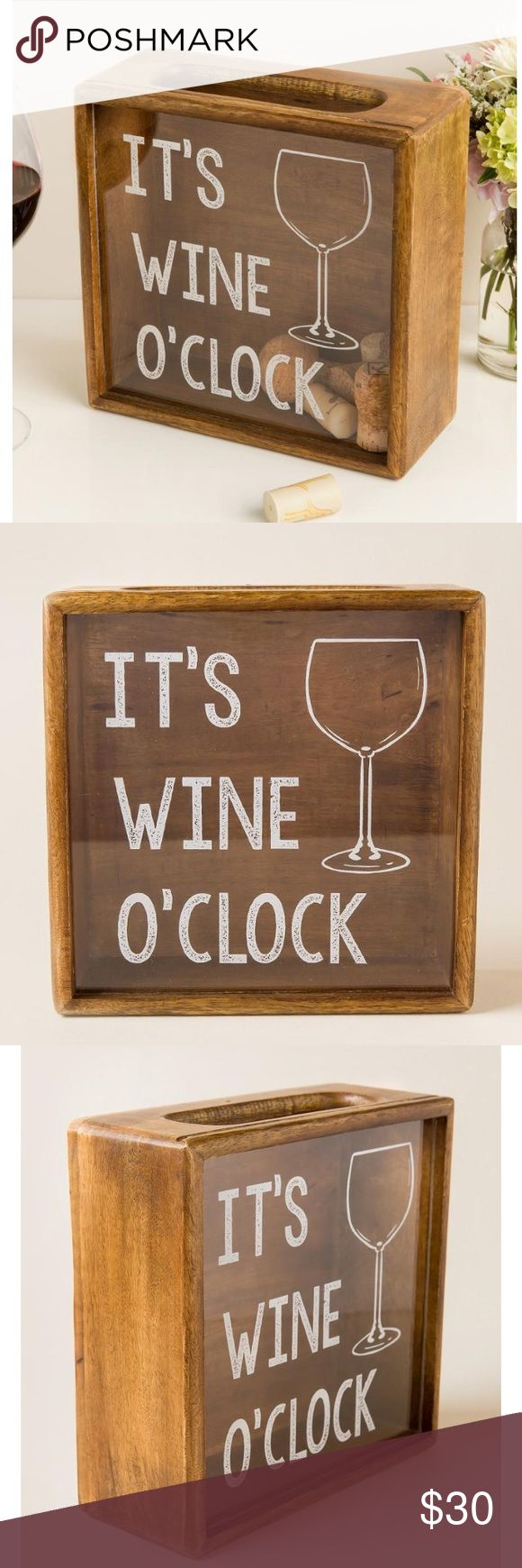 """NEW! IT'S WINE O' CLOCK WOOD CORK SHADOW BOX 🍷 Not available in stores anymore!!! Brand new """"It's Wine O'Clock"""" Wood Cork Shadow Box. The perfect gift for your favorite wine-o or the perfect home accessory! Details: 8.5 inches by 3.5 inches. Made of real wood. Glass insert in front. Opening at the top is 2 inches by 6 inches. Perfect for displaying your wine corks in a fun way! Francesca's exclusive - out of stock online and in stores! Offers welcome! 🍷 ❤️ Francesca's Collections Other"""