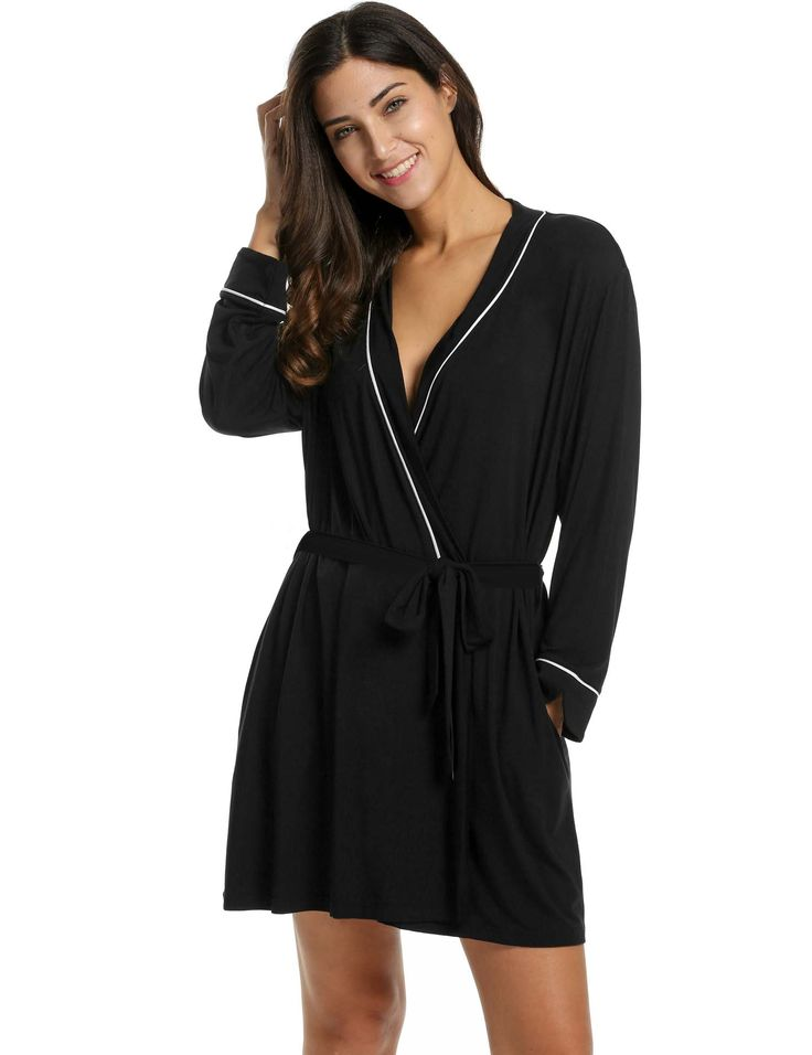 Black Cotton Robe Short   Fashideas.com
