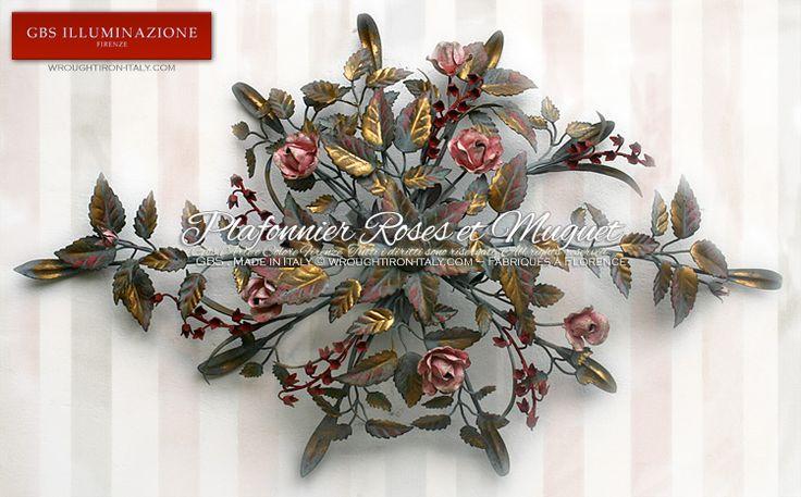 Plafonnier Roses et Muguet, de forme ovale, avec 4 lampes