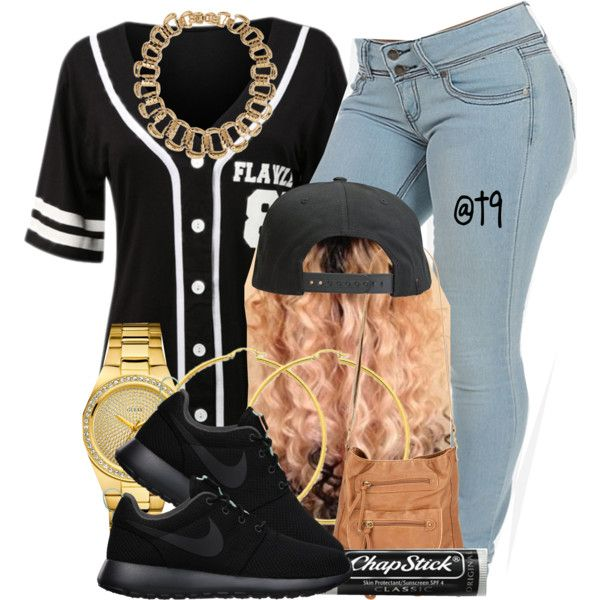 Baseball Game. by trillest-queen on Polyvore featuring polyvore, fashion, style, NIKE, T-shirt & Jeans, GUESS, Forever 21, Tavik Swimwear, Chapstick and INC International Concepts