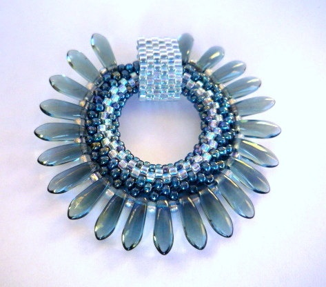 Blue Crystal Dagger beaded pendant