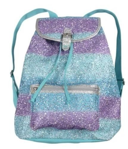 NWT~ JUSTICE GIRLS SCHOOL BACKPACK GLITTER DANCE GYM BAG PURPLE TURQUOISE OMBRE #JUSTICEFORGIRLS