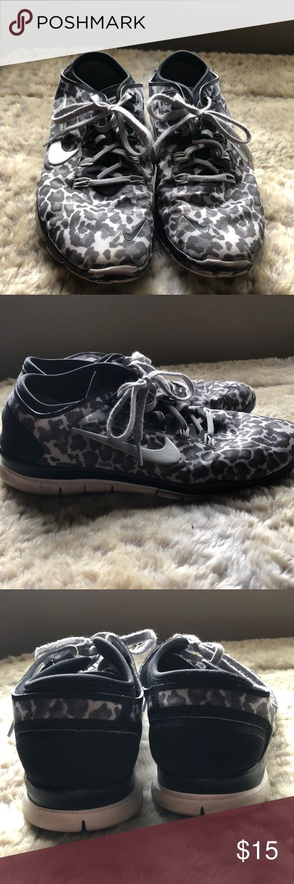 Nike Leopard Print Tennis Shoes In good condition! The front is worn on both shoes as seen above. Nike Shoes Athletic Shoes