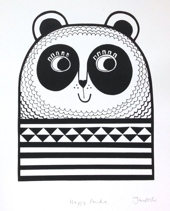 Impression d'écran Panda heureux par Jane Foster - monochrome géométrique noir…