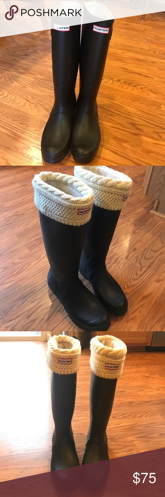 Hunter Boots! Matte Black Excellent condition. Hunter tall boots, white fleece liners included! Barely worn on the bottom! Hunter Boots Shoes Winter & Rain Boots