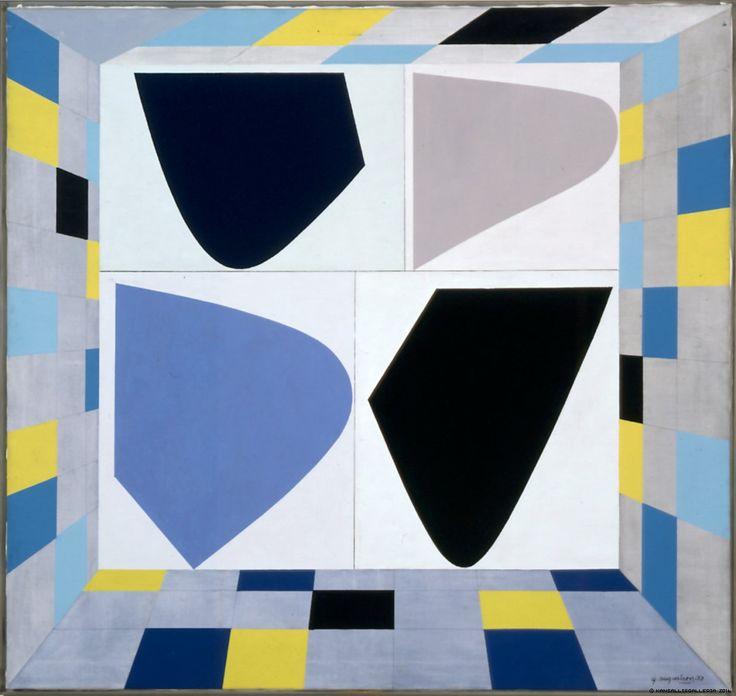 Göran Augustson: Tiivistelmä, 1973, akryyli ja lyijykynä kankaalle, 160x170 cm - Kansallisgalleria
