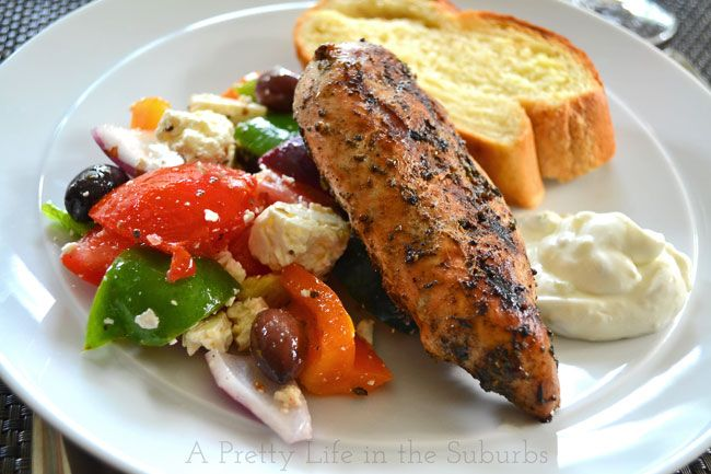 Greek Chicken & Salad. My notes: My all-time favorite marinade for greek chicken pitas!
