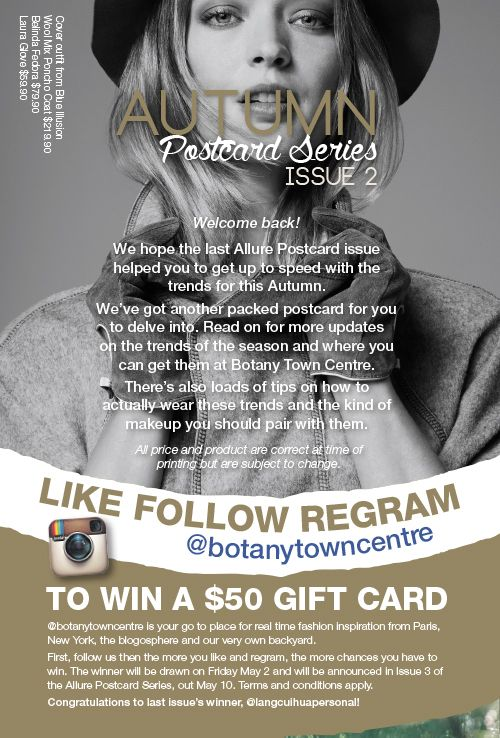 Follow @BotanyTownCentre on Instagram to win a $50 gift card