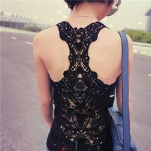2014 Summer New Fashion réservoir Femmes top en dentelle sexy tête Crochet Retour creux-out femme Vest Camisole dentelle noire et de Pentecôte Vest(China (Mainland))