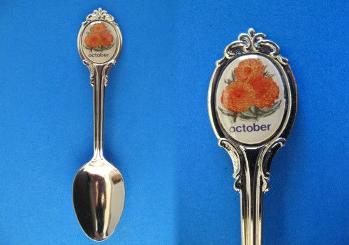 October Birthday Souvenir Collector Spoon Birth Month Calendula Flower