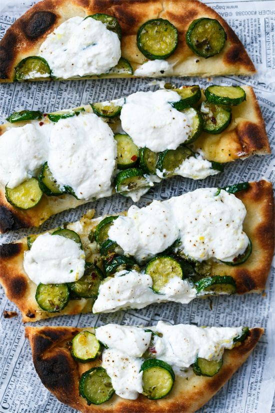Zucchini Naan Flatbread with Lemon Ricotta - Proof that dinner in a hurry doesn't have to  be any less delicious.