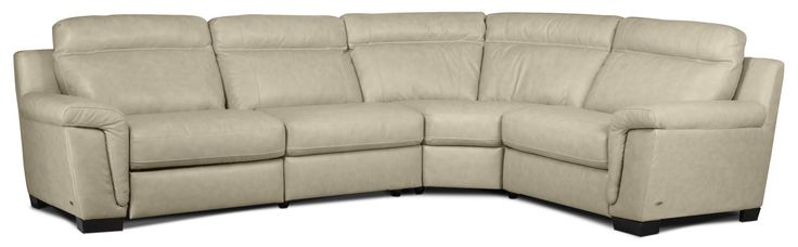 Living Room Furniture - Seth Genuine Leather 4-Piece Sectional - Rope