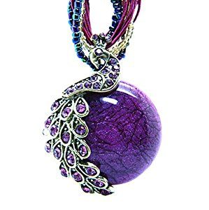 Women's Vintage Bohemian Style Phoenix Peacock Crystal Diamond Opal Pendant Necklace (Purple)