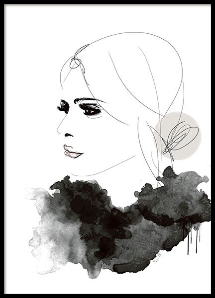 Poster with illustration of a woman in profile. This is truly a sleek, stylish poster that breathes fashion. Looks good paired with several of our text posters and other fashion prints. www.desenio.co.uk