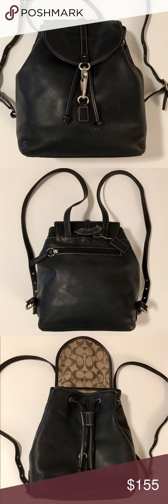 "Coach Studio Legacy Backpack in Black Leather Beautiful soft black leather. Has interior zipper pocket along with two pockets. Draw string and Silver clasp hardware. One outer zipper pocket. Approx. Size: 10"" L X 11"" H X 4.75"" D, Double backpack straps are fully adjustable (5 prong) with 18""- 24"" drop, Center top leather handle to hang backpack or carry by hand. Coach Bags Backpacks"