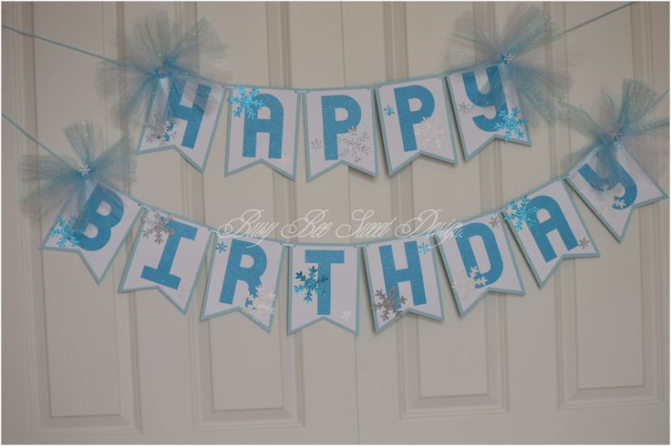 Frozen Banner / Frozen Happy Birthday Banner / Snowflakes Banner / Frozen Party by BusyBeeSweetDesigns on Etsy