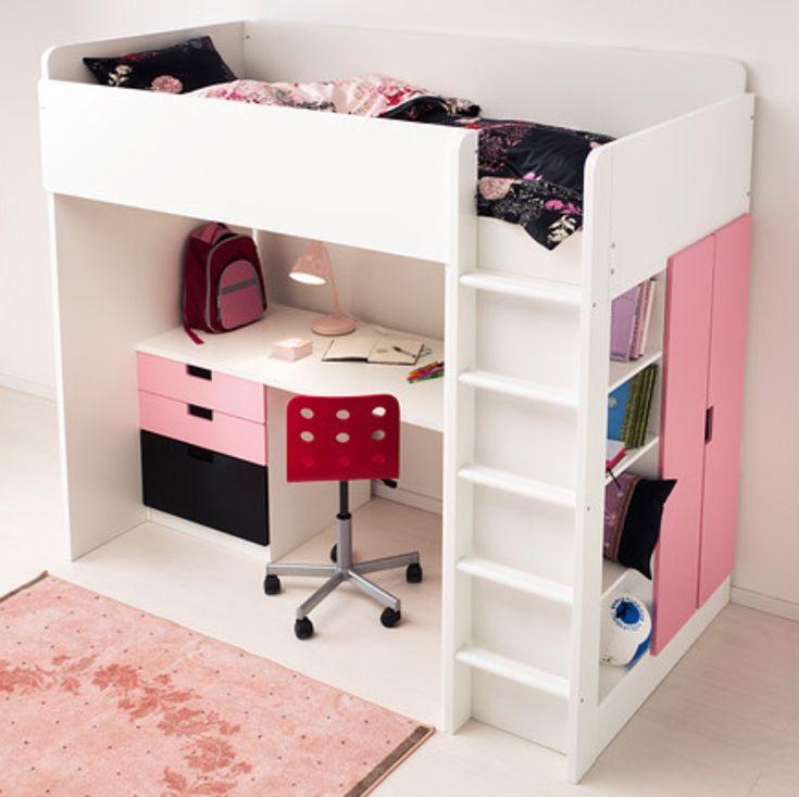 STUVA Loft bed with 4 drawers/2 doors, white