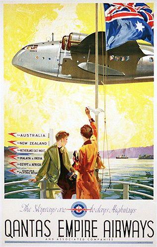 Qantas Empire Airways. Poster by Walter Jardine 1939.
