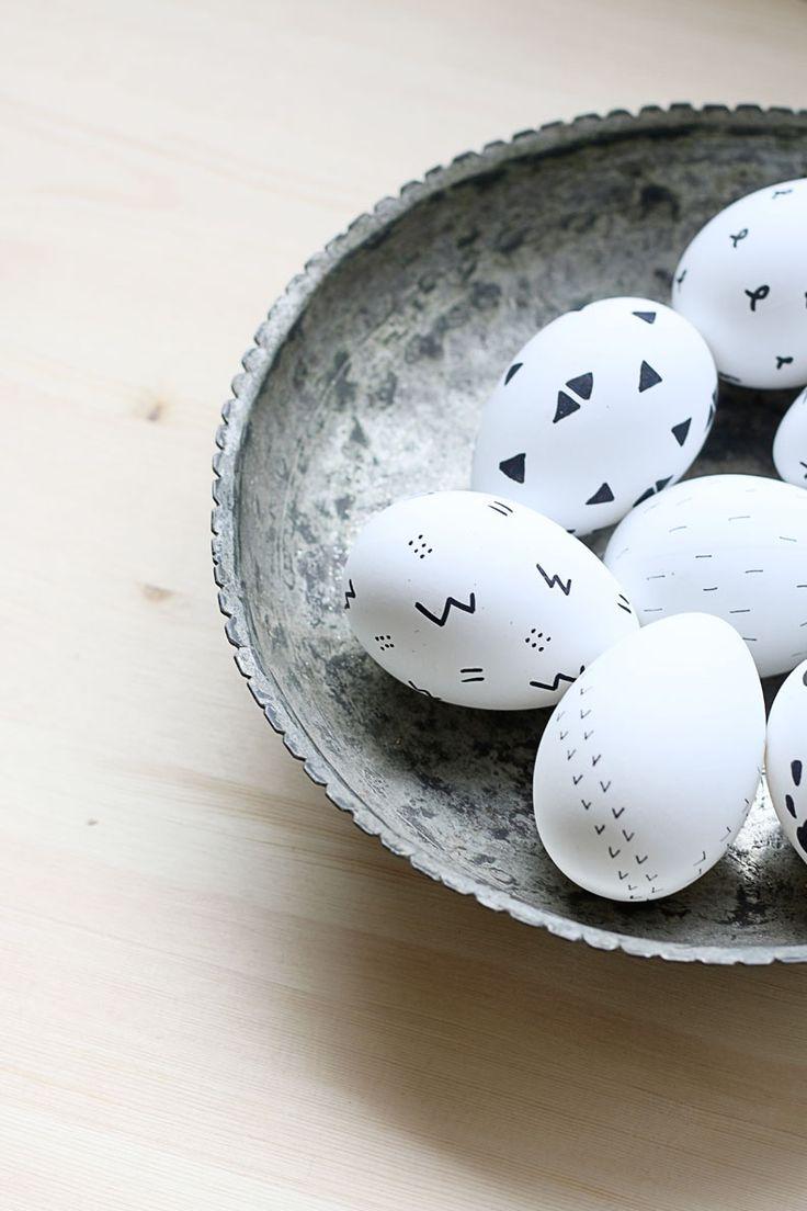 Black and White Scandinavian-Inspired Easter Eggs