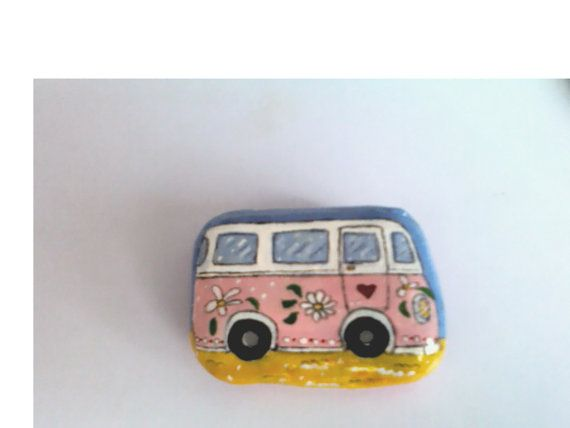 Hand Painted Acrylic Stone. Summer Time Camper by HiddenGardenArt, £5.00