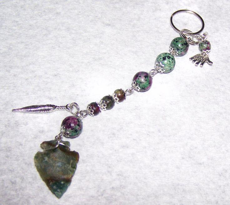 Handmade Arrowhead Ruby in Fichsite Key Chain, Purse Dangle, Backpack Dangle, Pendant, Charm - pinned by pin4etsy.com