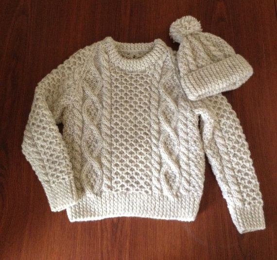 This Beautiful Jumper Has Been Hand Knit In An Aran Tweed