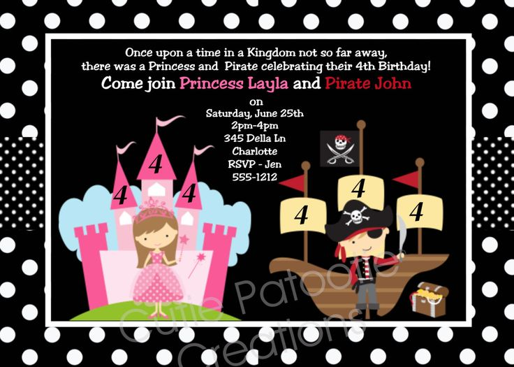 The 25 best Pirate birthday invitations ideas – Princess and Pirate Birthday Invitations