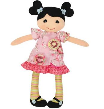 Girls gift idea online - Tiger Tribe Rag Doll - Mia - $39.95 - Adorable Mia rag doll by Tiger Tribe!  Hand-crafted rag doll made from lovely soft cottons with gorgeous little dress and stockings.  Packaged in a stylish gift box!  Suitable for ages 1+. Girls gift idea online - Tiger Tribe