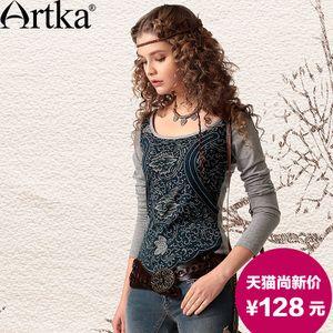 Artka akkadiană totem primăvară feminin vânt național tie-dye imprimare cultivarea bumbacului sălbatic gât rotund T-shirt TA10445R
