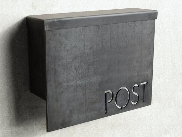"""MB1 Modern Mailbox with the word """"POST"""" cut in the face; it's $245 through Steel House Manufacturing's Etsy Shop"""