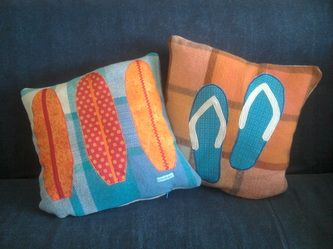 surf boards and kiwiana jandals on upcycled woollen blankets with zip closure