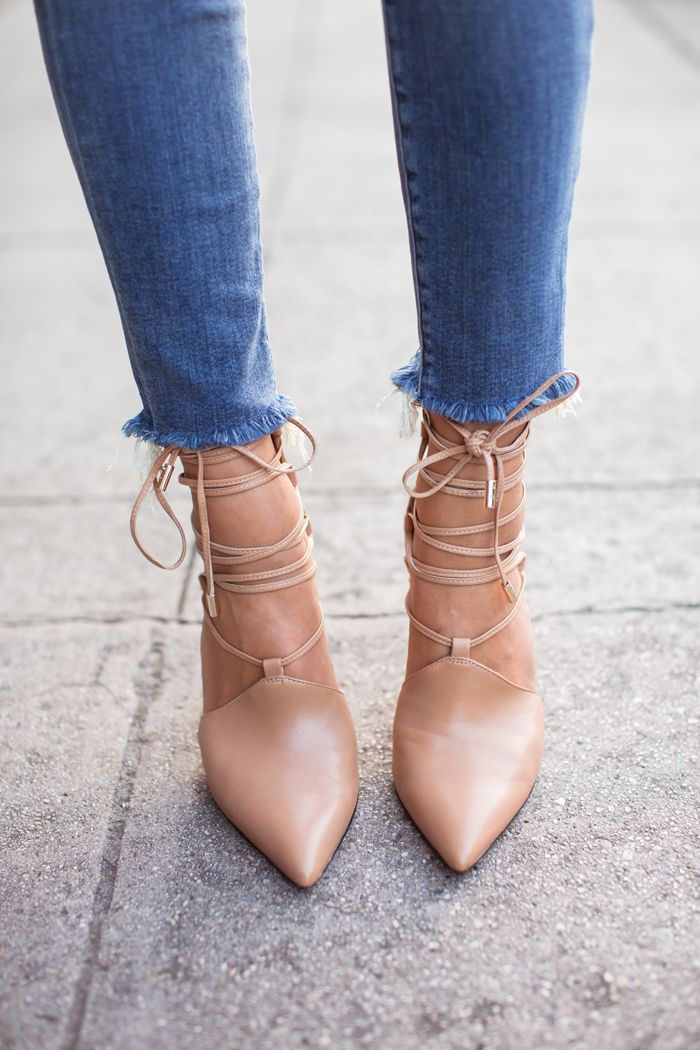 Nude lace-up pumps
