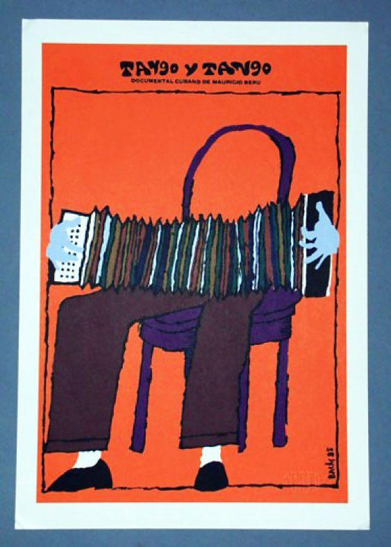 Cuban Movie Cardboard Poster Argentina Tango Accordion Graphic Design