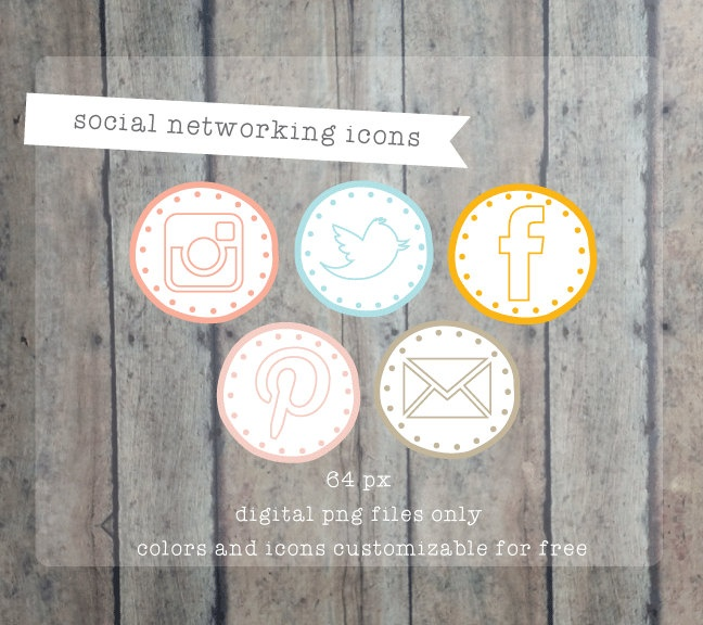 Social Media icons Social Networking Icons - Modern circles web buttons Blog buttons - website icons. $10.00, via Etsy.